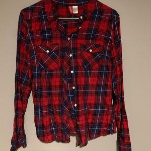 Red, blue, purple, white & black plaid shirt